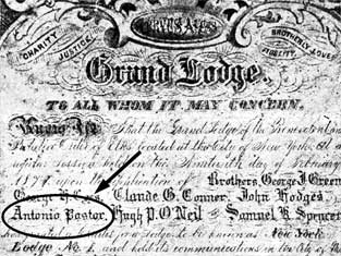 Pastor's signature on Grand Lodge Charter